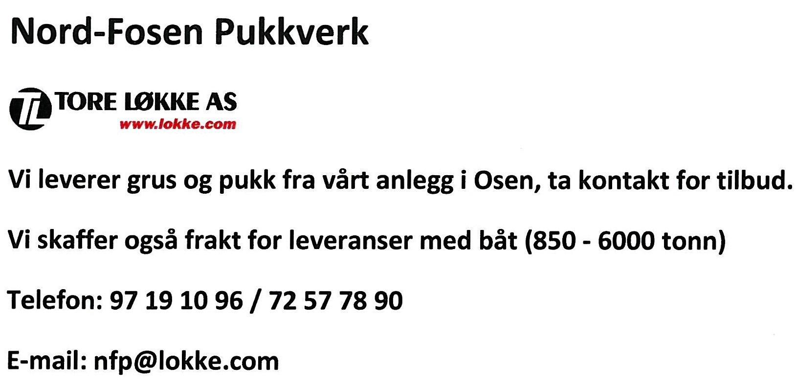 Nord-Fosen Pukkverk - Tore Løkke A/S